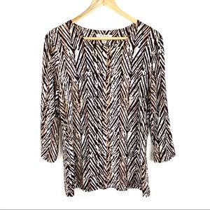 JM Collection Blouse Top Size S Brown Cream